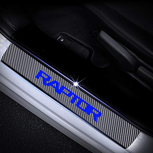 blueee for Ford Raptor F150 Door Sill Predector 4D Carbon Fiber Vinyl Sticker Car Door Sill Welcome Pedal Sticker Car Accessories 4Pcs  (color Name  White)