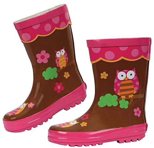 Image of Stephen Joseph Girls' Owl Rain Boot - Brown - 6