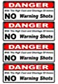 """4 Pcs Heart-stopping Unique Danger with The High Cost and Shortage of Ammo No Warning Shots Gun Security Sticker Sign CCTV Camera Property Protected Fence Signs Under Cameras Reflective Size 2""""x4"""""""