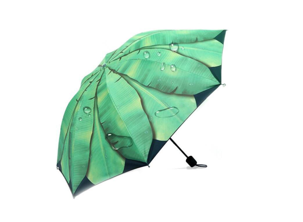 Banana Leaf Umbrella Windproof Umbrella UV Protection Sunblock Umbrella Rain Umbrella with Sleeve Umbrella for Women Kids Students Lightweight Windproof Compact Folding Umbrella Diameter 96cm