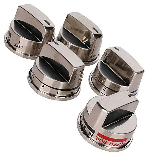 4 PCS EBZ37189611 Burner Range Control Knob & 1 PCS EBZ37189609 Super Boil Burner Range Knob Kit for LG Gas Range-LRG30355ST, LRG30357ST, LRG30855ST