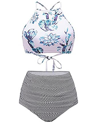 Tempt Me Women Two Piece Bikini Vintage Floral Print High Neck Lace Up Cross Top With High Waisted Stripe Bottoms Light Pink XXL