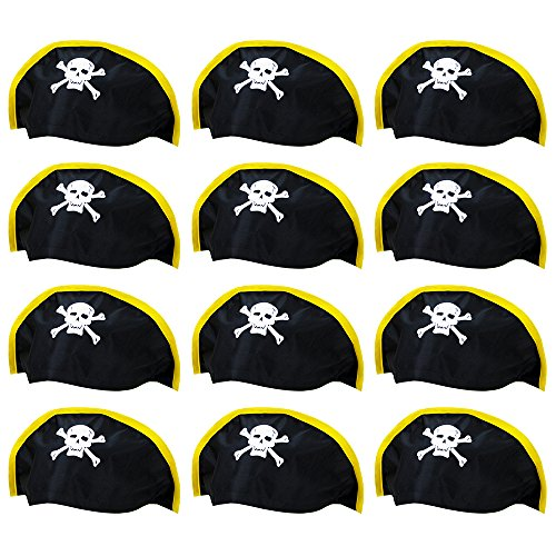 12-pack Soft Bicorne Pirate Hat Halloween Costume Accessory - Dress Up Theme Party Roleplay & Cosplay Headwear ()
