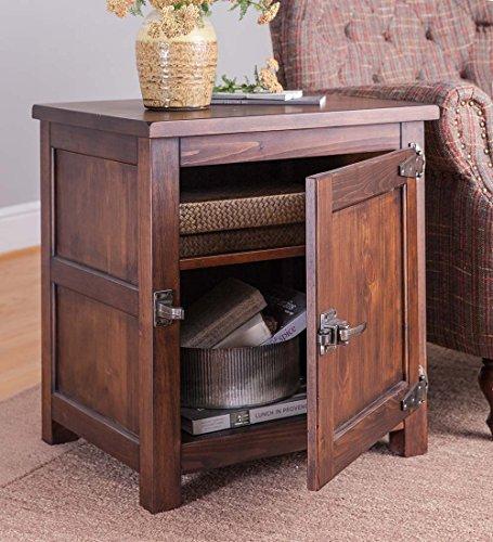 Portland Ice Box Wooden Side Table, 22 L x 18 W x 23.5 H - Walnut Finish