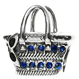 925 Sterling Silver Summer Lady Rattan Bag Blue Cz Crystal Bead For European Charm Bracelets