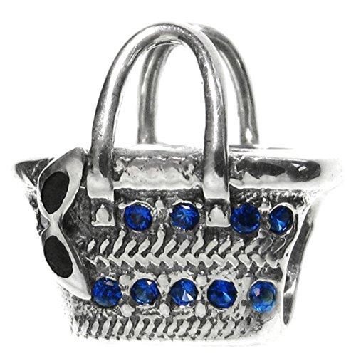 925 Sterling Silver Summer Lady Rattan Bag Blue Cz Crystal Bead For European Charm - Sunglasses Pandora Charm