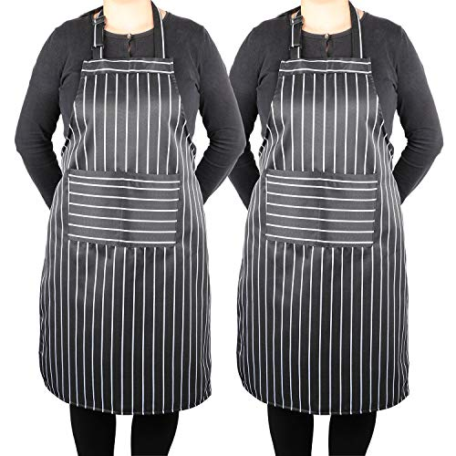 (Kitchen Bib Apron Black White Stripe with Pockets Unisex Chef Apron Professional for BBQ, Grilling, Baking, Cooking, 2 Pack)