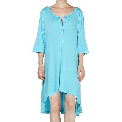 ZHRUI Media Manga de la Mujer Túnica Casual Botones Delanteros Alta Baja Loose Camiseta Top Vestido de Camiseta (Color : Cielo Azul, tamaño : 3XL): Hogar