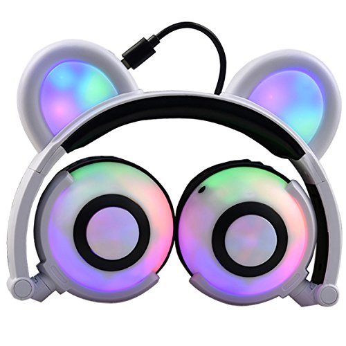 LIMSON Headsets Wireless Bluetooth Kids Headphones Over Ear with Mic - Rechargeable Rhythm Flashing Glowing Anime Cosplay Foldable Bear Ears Earphones BTR109 (white)
