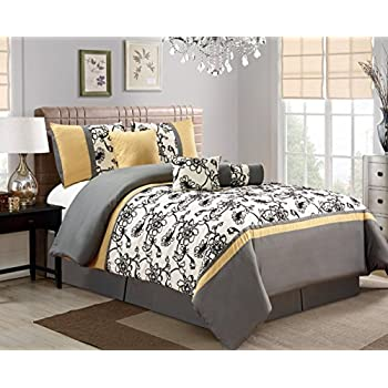 7 piece modern oversize yellow black white grey floral comforter set queen size