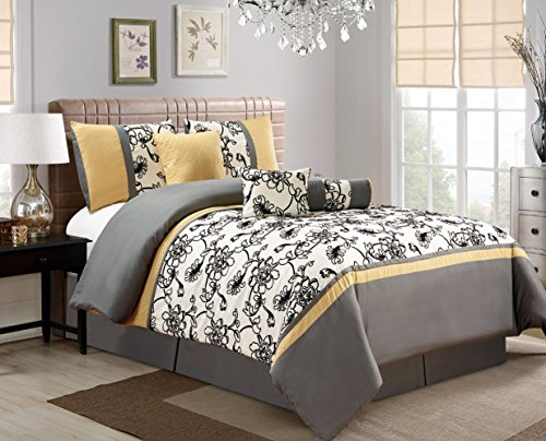 7 Piece Modern Oversize Yellow / Black / White / Grey Floral Comforter set QUEEN Size Bedding (Yellow Queen Size Comforter Sets)