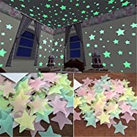 GUAngqi 100pcs Wall Glow In The Dark Star Stickers Decal...