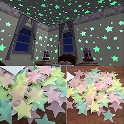 GUAngqi-100pcs-Wall-Glow-In-The-Dark-Star-Stickers-Decal-In-Kids-Room