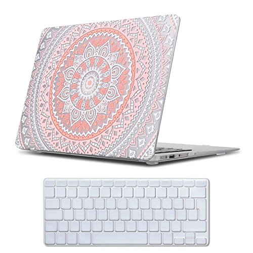MacBook Air 13 Case Pink , iCasso Medallion Pattern Ultra Slim Plastic...