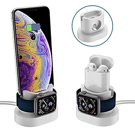 3 en 1 Soporte de Carga para Apple Watch, Soporte para Muelle iWatch Cargador Charging Stand Dock Station Estación de Carga de para iPhone X 8 ...