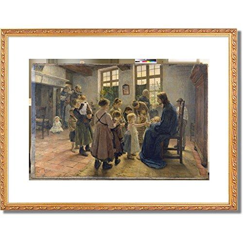 フリッツフォンウーデ Uhde, Fritz von「Let the Children Come to Me. 1884」インテリア アート 絵画 プリント 額装作品 フレーム:装飾(金) サイズ:XL (563mm X 745mm) B00OBYQINE 4.XL (563mm X 745mm)|4.フレーム:装飾(金) 4.フレーム:装飾(金) 4.XL (563mm X 745mm)