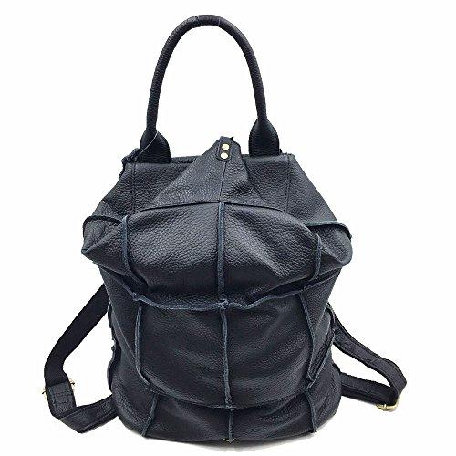 SHELI - Bolso mochila  de Piel Vuelta para mujer L negro
