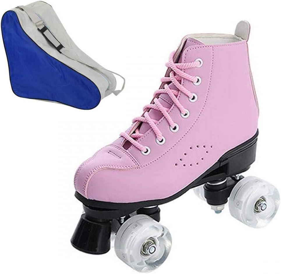 Womens Roller Skates Shiny Roller Skates PU Leather High-top Roller Skates Four-Wheel Roller Skates with Carry Bag