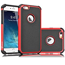 iPhone 6S Case, Tekcoo(TM) [Tmajor Series] iPhone 6 / 6S (4.7 INCH) Case Shock Absorbing Hybrid Best Impact Defender Rugged Slim Cover Shell w/ Plastic Outer & Rubber Silicone Inner [Red/Black]