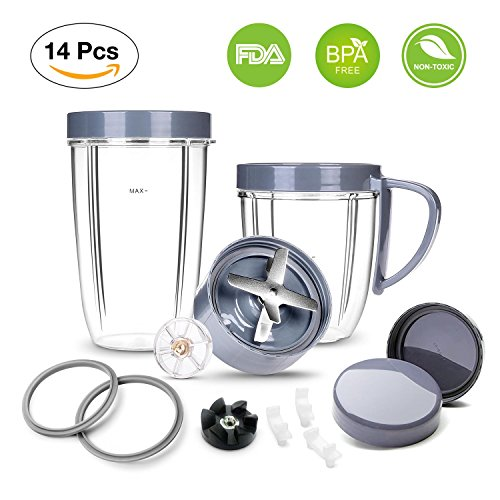 Deluxe Upgrade Kit for NutriBullet, Cup & Blade & Resealable Lid & Gear & Shock Pads Replacement Parts Kit, 14-Piece Set Replacement Parts for NutriBullet 900W/600W Series
