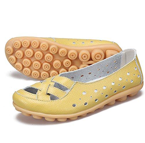 1 QFISH Baja Cuero Zapatilla de Yellow Mujer 6YSqv6