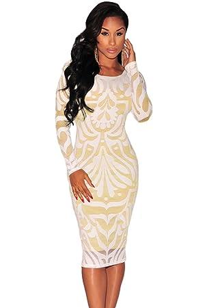 Mujer Plus Tamaño blanco y dorado encaje ilusión Vestido Midi Vestido Club Wear ropa tamaño 2