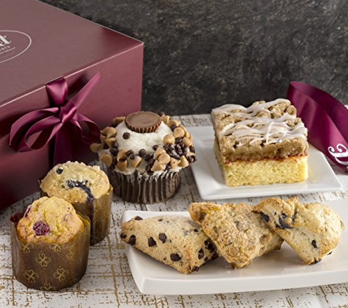 Gourmet Pastry Gift Basket of Foods-Includes Raspberry Crumb Cake. Rees's Cupcake, Muffins, and Assorted Flavor Scones Gift. Perfect Gourmet Gift! ()