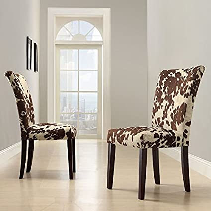 Amazon.com - Home Creek Julian Cowhide-Print Side Chair - Set of 2 ...