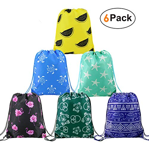 BeeGreen Drawstring-Backpack-Bags-Party-Supplies Favors Bags for Kids Teens Boys and Girls Birthday Gift Bags 6 Pack