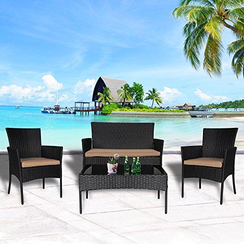ree 4-Piece Wicker Outdoor Furniture Patio Furniture Set Sectional Conversation Sofa Set Wicker Furniture Set w/Table 3 Sofa Chairs, Black Rattan Khaki Cushion ()