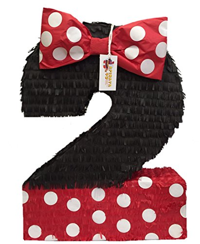 APINATA4U Large Number Two Pinata Black Color with Red Bow -