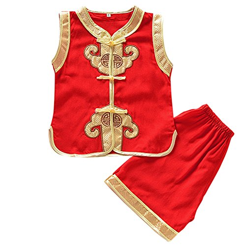 Qiancheng Children Cheongsam Suit Summer Ruyi Boy Vest Suit Baby Performance Costumes Chinese Children's Clothing -