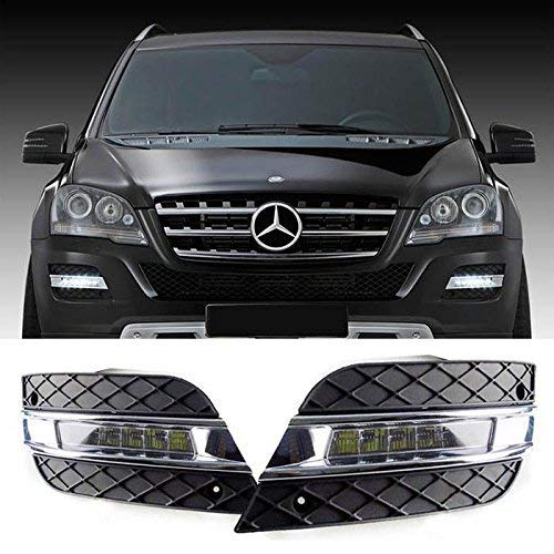 iJDMTOY Xenon White LED Daytime Running Lights For 09-11 Mercedes W164 ML-Class ML350 ML450 ML550 ML63 AMG, (2) OEM Fit DRL Assy Each Powered by 6 Pieces High Power Osram LED Lights ()