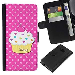 A-type (Sweet Pastry Polka Dot Pink) Colorida Impresión Funda Cuero Monedero Caja Bolsa Cubierta Caja Piel Card Slots Para HTC One M9