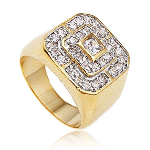 JOTW Men's Goldtone Cz Layered Squares Ring Sizes 7-17 (10) (D-922-10)