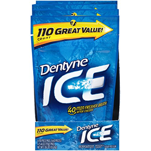 Dentyne Ice Peppermint Gum Bag, 110 Count (Pack of 4)