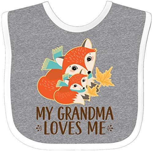 - Inktastic - Grandma Loves Me Woodland Fox Gift Baby Bib Heather/White 2db24