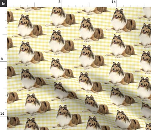 (Spoonflower Collie Fabric - Dog Pet Animal Rough Coat Collie Lassie by Pateisen Printed on Fleece Fabric by The Yard)