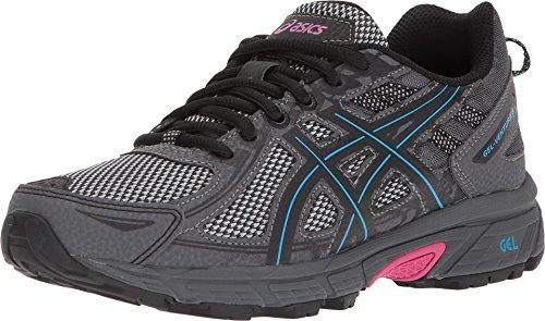 ASICS Women's Gel-Venture 6 Running Shoe, Black/Island Blue/Pink, 6 M US