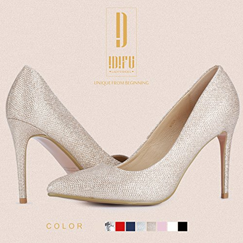 High IDIFU Women's Dress Stiletto Toe Classic Pointed Glitter Gold Heel Pump IN4 4TaxqfwTnA