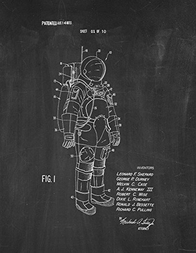 """Space Suit Certificate of invention Put out Art Placard Chalkboard (8.5"""" x 11"""")"""