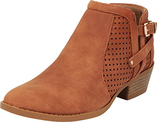 Cambridge Select Women's Closed Round Toe Laser Cutout Perforated Chunky Stacked Low Heel Ankle Bootie,7 B(M) US,Tan PU