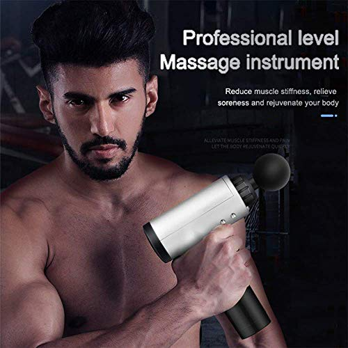 Muscle Massage Gun,Portable Body Muscle Massager Professional Deep Tissue Massage Gun for Pain Relief with 6 Massage Heads 30 Speed High-Intensity Vibration USB Rechargeable Back Massager (Black 0)