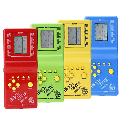 Vanker 1pcs Children Kid Retro Classic Brick Game Toy Tetris Hand Held LCD Electronic Game Toy 9999 in 1,Random Color