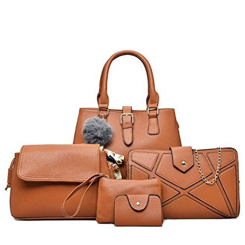 Piece Fashion Tote Suit Brown Clutch Card Package Women's Leather Package Package Shoulder Diagonal LXYIUN Handbag Fashion Brown PU Six Bags IntYRqwq