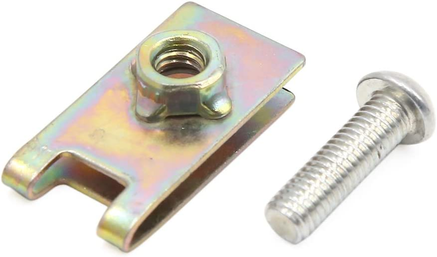 sourcing map 8Stk Universal Feder Metall 5mm Lizenz Panel U-Clips Tempo Nut mit Schrauben DE