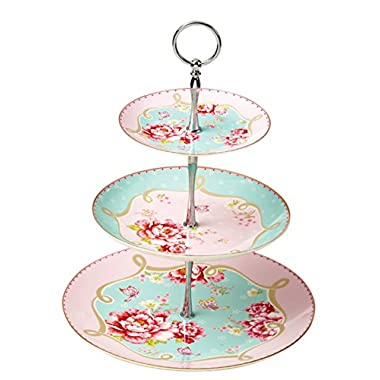 Jusalpha Royal Pink Roses Bone China 3-tier Serving Cake Stand in Gift Box