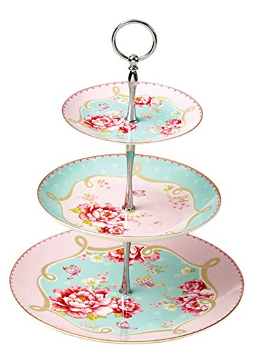 (Jusalpha Royal Pink Roses Bone China 3-tier Serving Cake Stand in Gift Box)