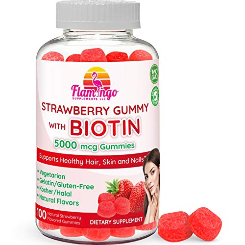 Flamingo Supplements - Biotin Gummies 10,000 mcg serving for Women & Men with Non GMO Gluten Free Natural Strawberry Flavor| Vegetarian, Kosher Halal Vitamins for Hair & Nails | 100 Count (Recommended Intake Of Biotin For Hair Growth)