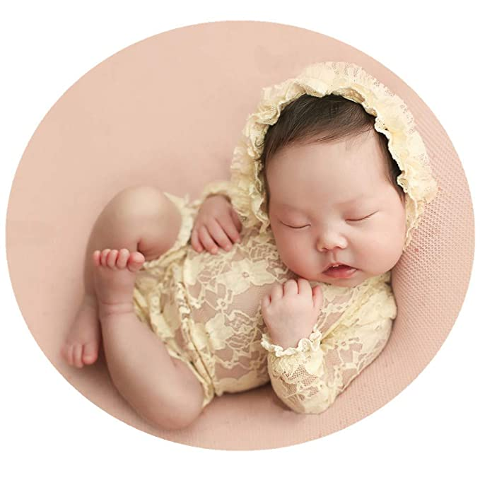 0da978e37288d Baby Photography Props Lace Hats Rompers Newborn Girl Photo Shoot Outfits  Hat Set Infant Princess Costume